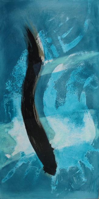 60 x 120 cm, Marmormehl, Buchbinderleim, Tusche, Öl, Pigmente