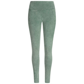 Yoga Leggings stone washed Bambus moosgrün