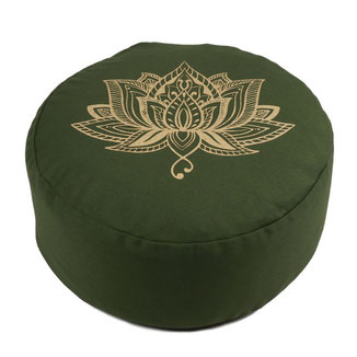 Yoga Kissen Baumwolle Lotus Print olive grün