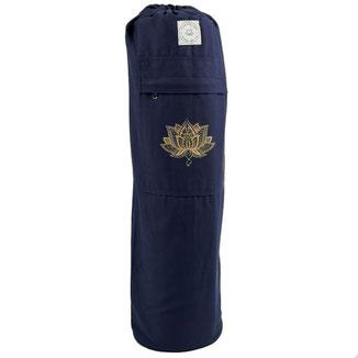 Yogamatten Tasche aus Baumwolle Lotus navy blau