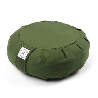 Meditationskissen Zafu uni olive grün Bio Dinkelspreu