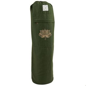 Yogamattentasche olive grün Baumwolle gold Print Lotus