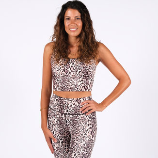 Yoga Crop Top Leopard Print recycled