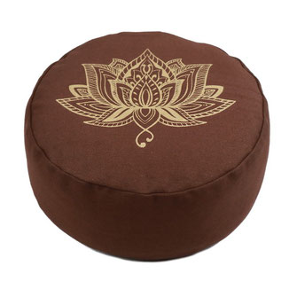 Meditationskissen gold Print Lotus braun