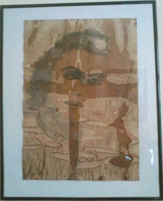 Encre de chine/ Papier. Autoportrait 1. Appartient à Gérard Toussain