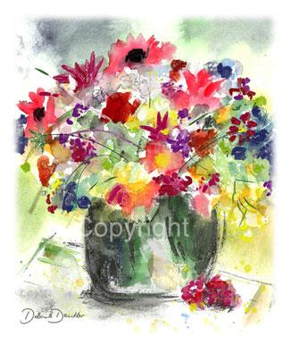 bunter Blumenstrauss in Vase