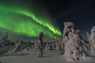 Nordlichter am finnischen Nachthimmel