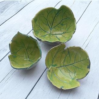 Keramik Blätter Schalen