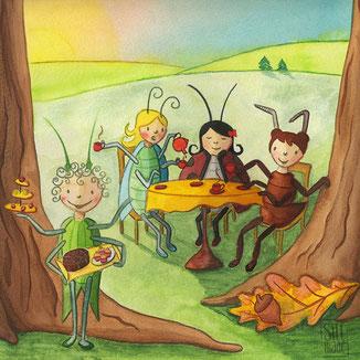 Illustration von Käfer Freundinnen bei Kaffee und Kuchen