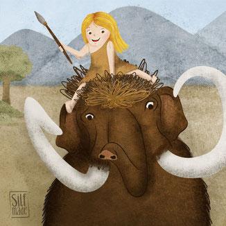 Steinzeit Illustration – Reiten auf dem Mammut!