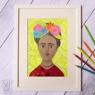 Collage von Frida Kahlo einer berühmten Malerin