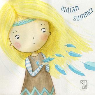Illustration von Mädchen im Indianer Kostüm