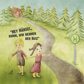 Hänsel und Gretel fahren mit dem Bus aus dem Hexenwald