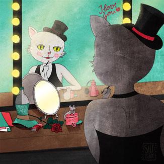 Illustration von einer Katze als Star einer Brodway Show