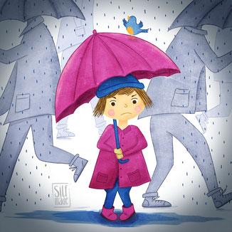 Illustration zeigt ein motziges Mädchen im Regen