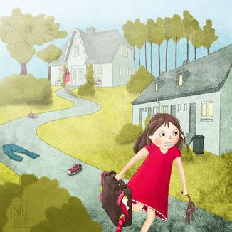 Illustration zeigt wütendes Mädchen, dass mit gepckten Koffern ausreißt.