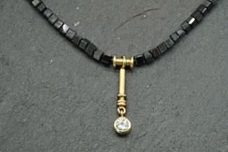 Diamantenkette mit hochwertigen Anhänger aus Gold mit Brillant