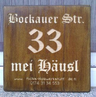 Holz Hausnummer