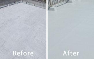漏水処理を施した屋上 前と後の比較
