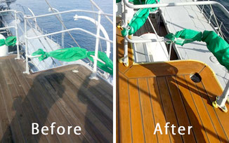 船舶甲板木材劣化防止工事前と後の比較