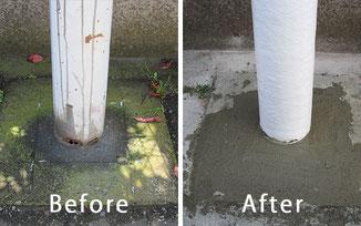 街路灯修復の前と後の比較