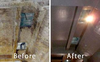 コンクリート防食工事を施す前と後の比較