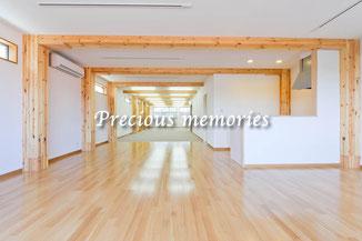 岐阜県関市の建築写真です。大規模木造住宅のスパン内観写真です。