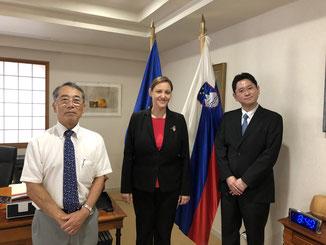 (from left) JSBC Honorary Dorector Mr. Ishigure, Ambassador H.E. dh Dr. Ana POLAK PETRIČ, JSBC Chief Director Mr. Nishihara
