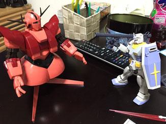 ジオング(シャア専用カラー)& G-3ガンダム