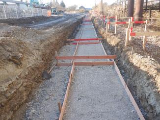 均しコンクリート型枠設置状況
