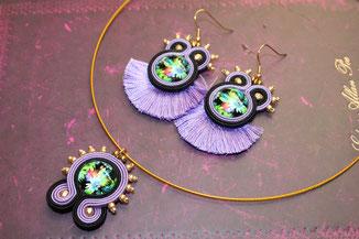 Kinari Handmade Jewellery, Statementschmuck, Designer, Soutache Moana-Set, Ohrringe, Kette