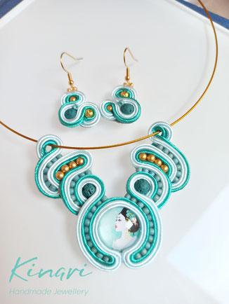 Kinari Handmade Jewellery, Statementschmuck, Designer, Soutache Maiko-Set