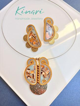 Kinari Handmande Jewellery, Statementschmuck Soutache, Conzuela, Kette, Ohrringe