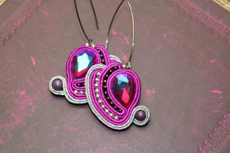 Soutache Schmuck Ohrringe Magenta by Kinari Handmade Jewellery Statementschmuck Designer