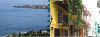 Blick auf die Karibik mit der Altstadt im Hintergrund; Balkone und Pflanzen in der kolonialen Altstadt