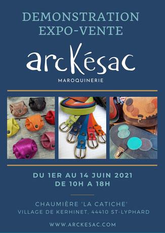 Arckésac maroquinerie expose à Kerhionet. maroquinerie artisanale fabriquée en France, à St-Lyphard en Brière. Fabrication de besace en cuir, de sacoche en cuir, de porte-monnaie en cuir, de ceinture en cuir