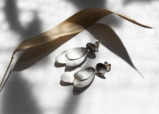 Hängeohrringe Silber Blätter