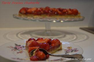 pâte sablée, compotée fraises rhubarbe, fraises