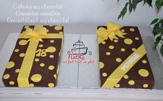 gâteau chocolat, ganache vanillée, cadeaux, gâteaux, cake design, 18 ans