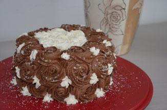 gâteau chocolat, ganache coco, chantilly chocolat