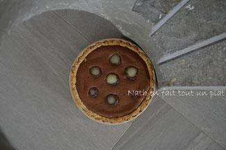 pâte brisée, crème amandine chocolat, poires au sirop