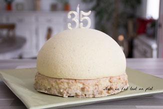bavarois vanille mirabelles, streusel et biscuit noisette