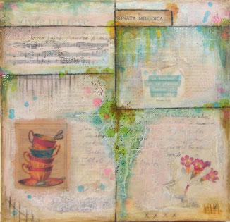 Sonata Melodica - collage & encaustique  (sur Toile 3D 30x30 cm - 130€) ©B.Dupuis
