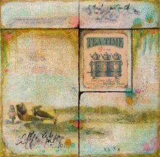 Tea Time - collage & encaustique  (sur Toile 3D 30x30 cm - 130€) ©B.Dupuis