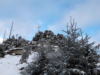 Hochstein Gipfel nach der Wanderung auf den Bayerischen Plöckenstein und den Dreisesselberg