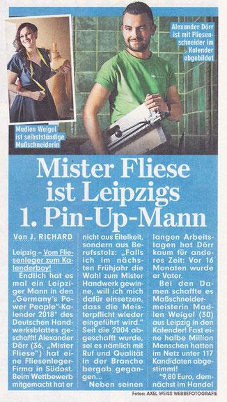 """Mister Fliese - Ihr Fliesenleger aus Leipzig in """"Bild vom 08.11.2017"""""""