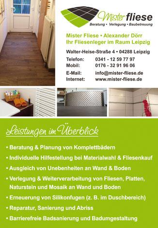 """Mister Fliese - Ihr Fliesenleger aus Leipzig im Magazin """"Lebenswert"""" 08/2016"""