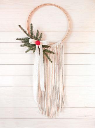 macrame makrame garnundmehr weihnachten christmas decoration wall hanging felt balls