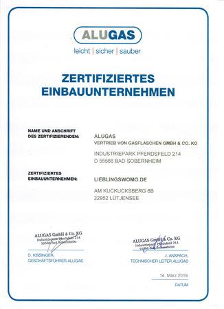 ALUGAS Travelmate Zertifiziertes Einbauunternehmen