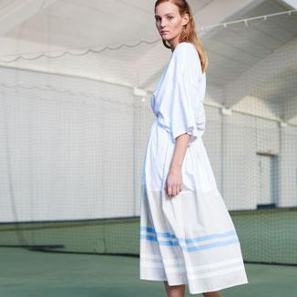 T-Shirt Kleid von Bitten Stetter. Aus der Kollektion Vantage. Wadenlanges Jerseykleid in Weiß.